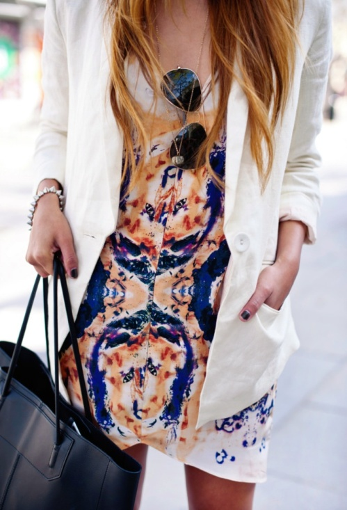 white blazer printed dress