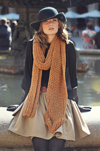black hat brown scarf