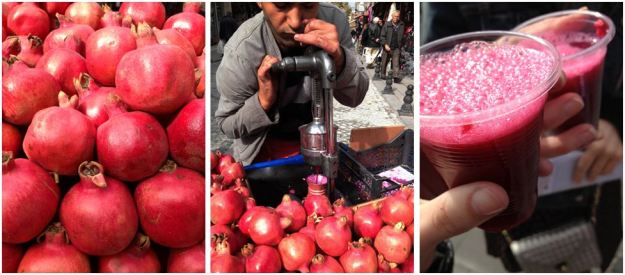 Fresh-squeezed pomegranate juice street-side. Cheers.