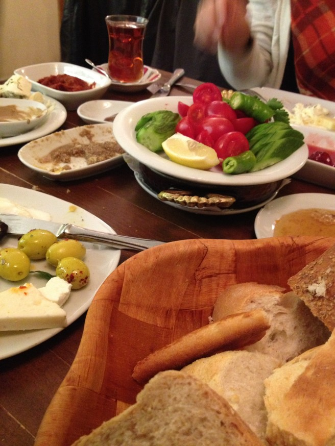 Nobody does brunching like Turkey. Plate after plate of delicious dips, fruit, cheese and bread with - what else? - cup after cup of hot tea.