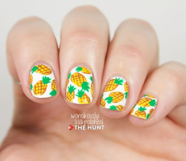 wondrously polished - pineapple nail art